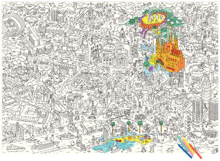 Coloriage géant : Barcelone