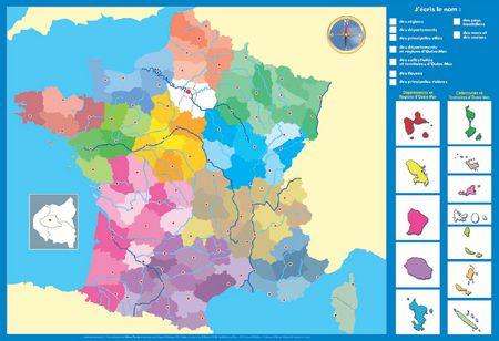Carte de la France - Nouvelles régions incluses